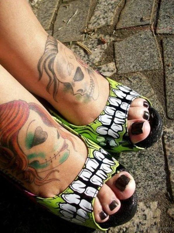 Sugar Skull Tattoos On Feet