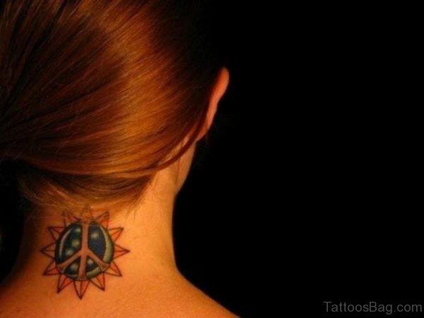 Sun Tattoo Design On Neck