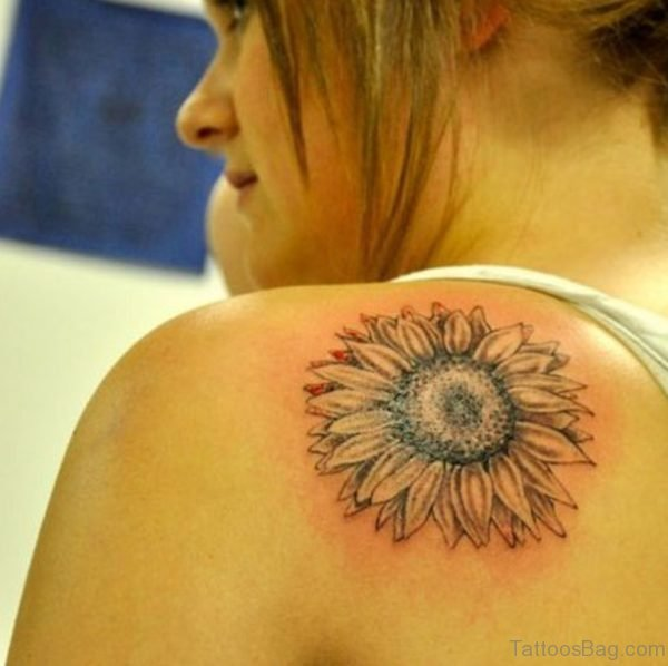 Sunflower Tattoo Design On Back Shoulder