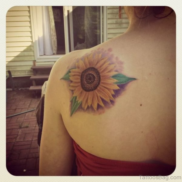 Sunflower Tattoo On Back Shoulder