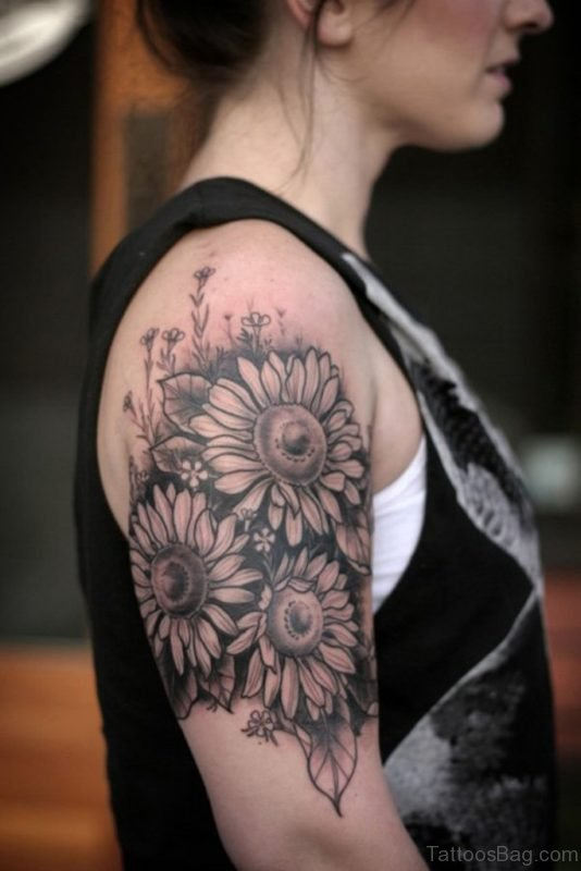 Sunflower Tattoo Shoulder For Women