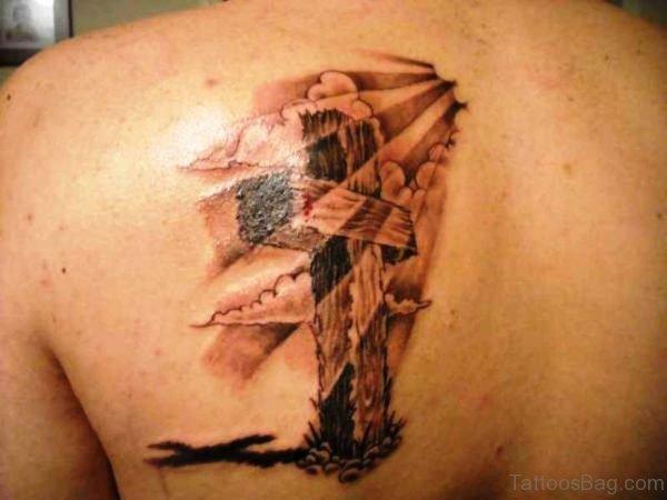 Sunshine Cross In Clouds Tattoo