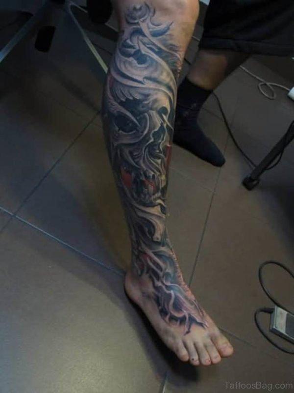 Superb 3D Biomechanical Tattoo On Leg