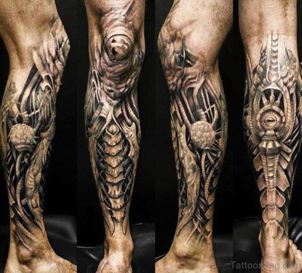 Superb Biomechanical Tattoo On Leg