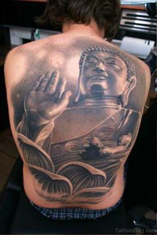 Superb Buddha Tattoo On Back