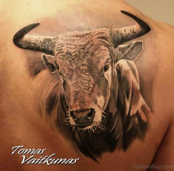 Superb Bull Tattoo On Shoulder