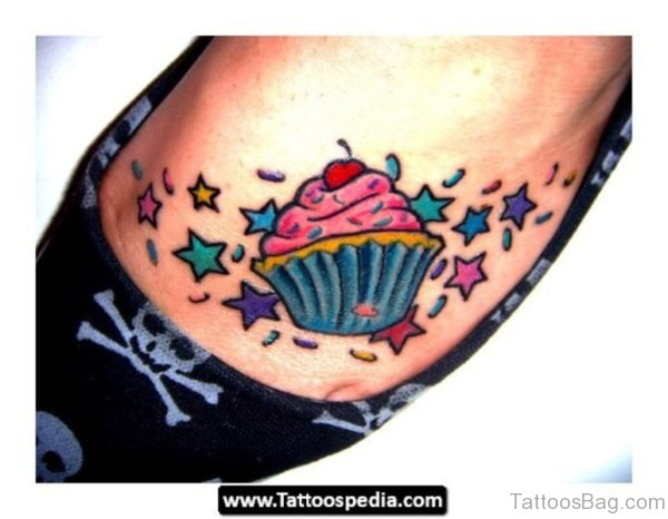 Superb Cupcake Tattoo On Foot