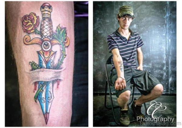 Superb Dagger Tattoo On Arm