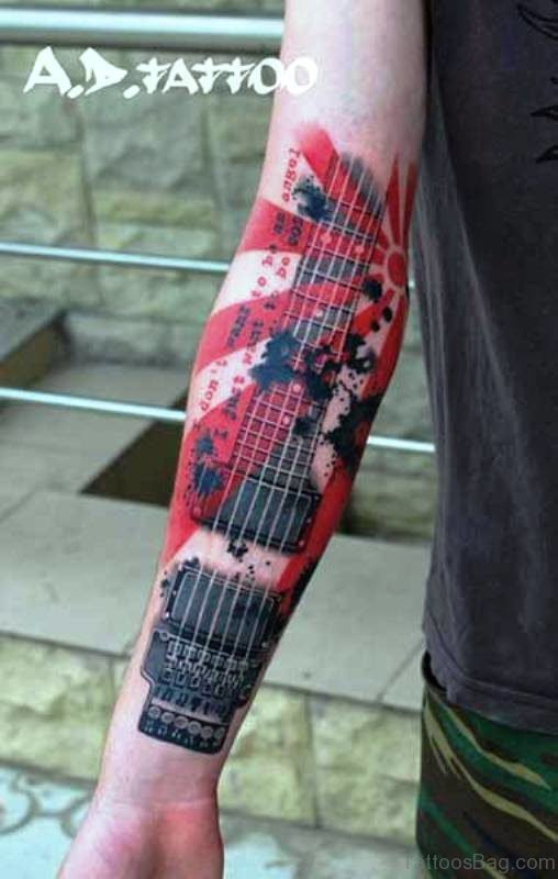 Superb Red Guitar Tattoo On Forearm