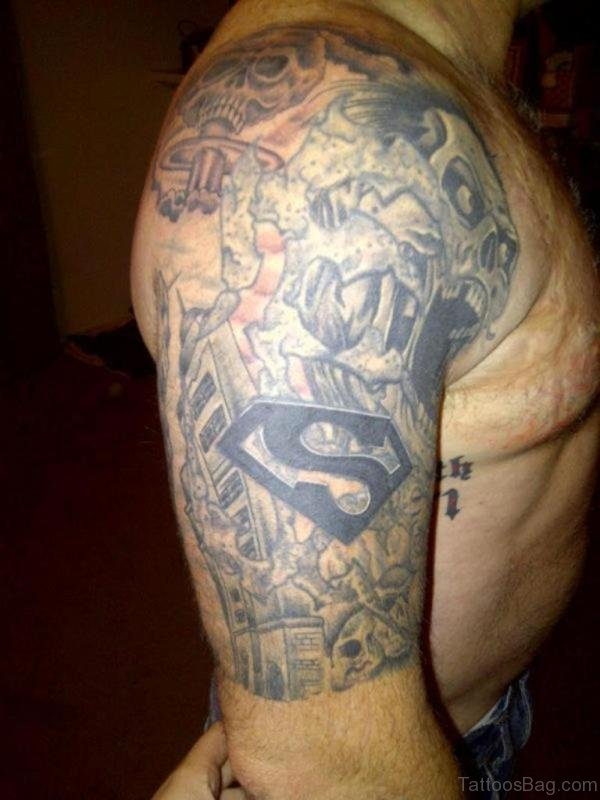 Superman Tattoo On Shoulder