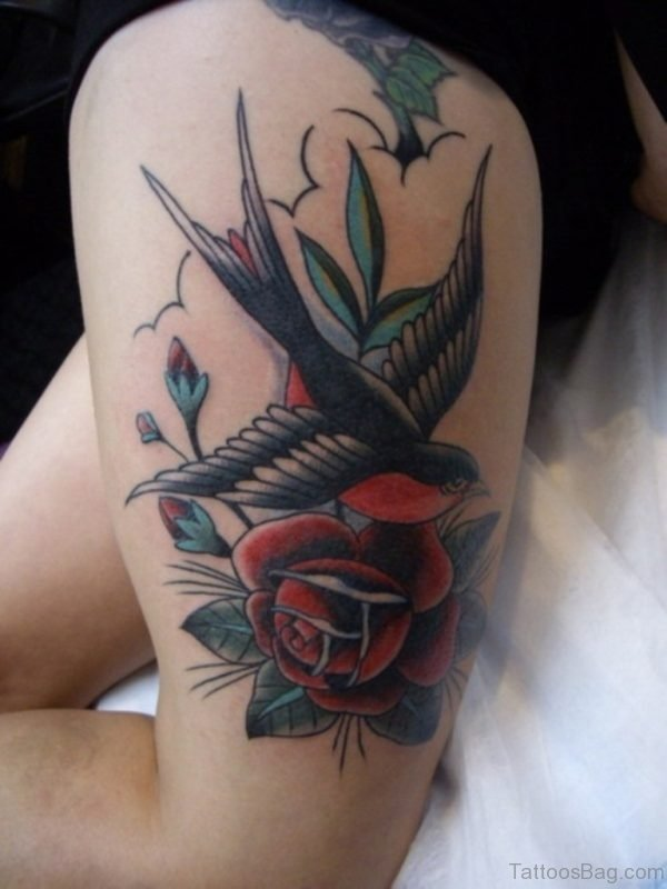 Swallow And Rose Tattoo On Thigh
