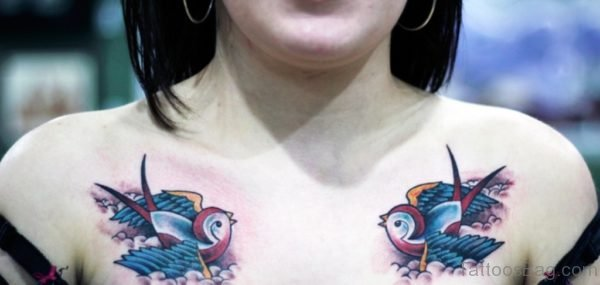 Swallow Pair Tattoo For Chest
