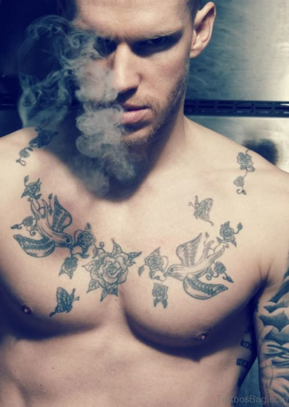 Swallow Tattoo On Chest
