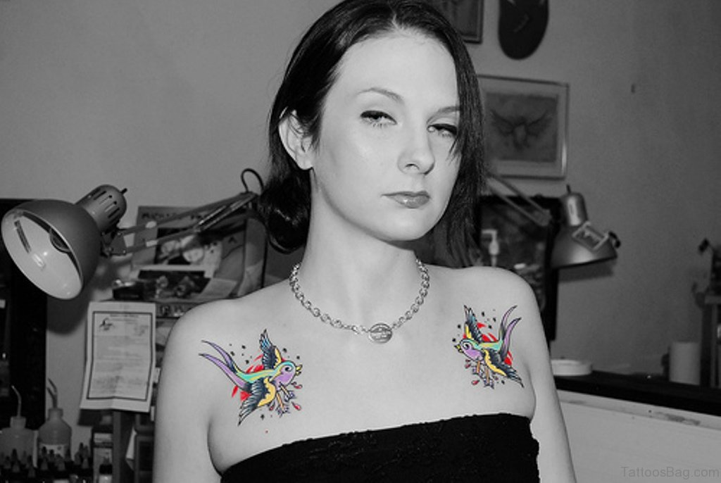 Chest Girl Tattoo: 50 Beautiful Swallow Tattoos On Chest