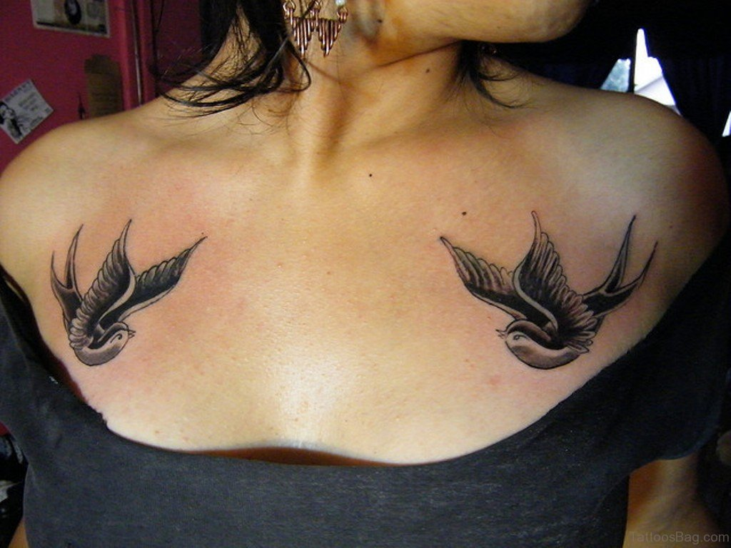 50 beautiful swallow tattoos on chest for Chest tattoos for women