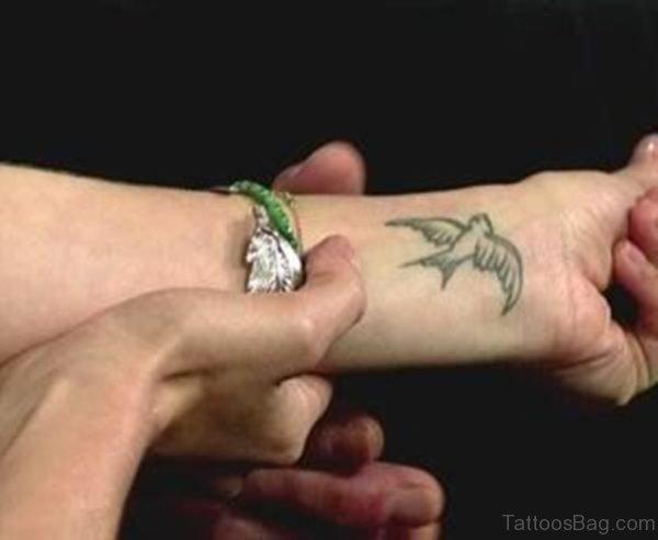 Swallow Wrist Tattoo For Girls
