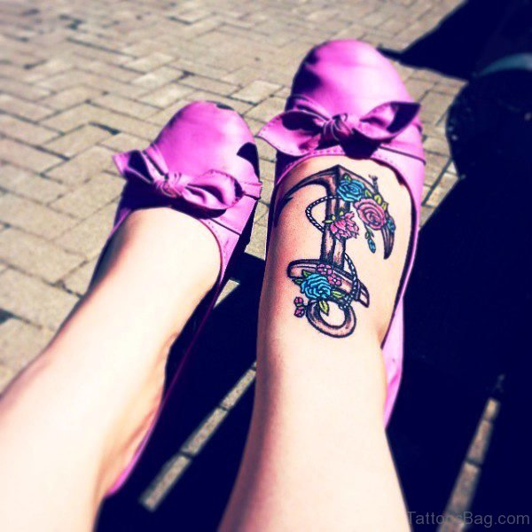 Sweet Anchor Tattoo On Foot