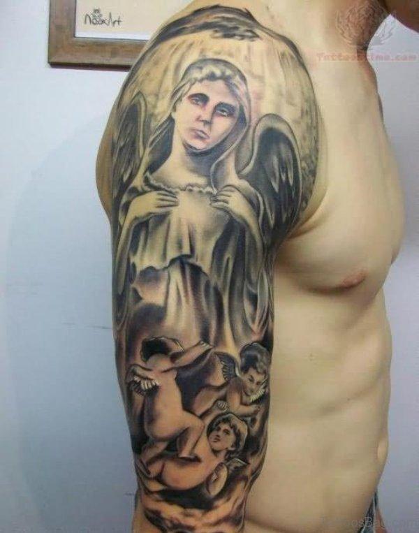Sweet Angel Half Sleeves Shoulder Tattoo