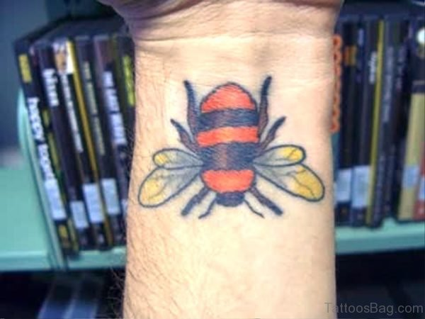 Sweet Bee Tattoo On Wrist