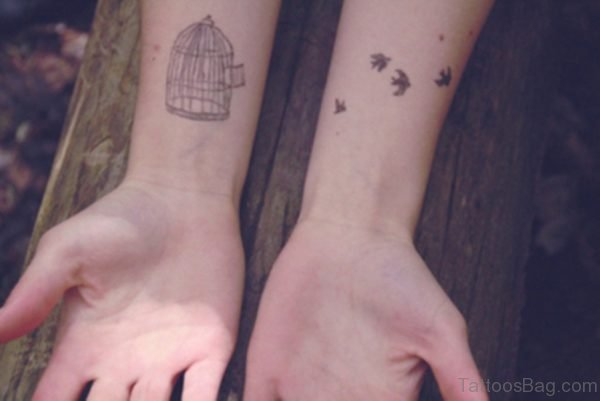 Sweet Bird And Cage Tattoo