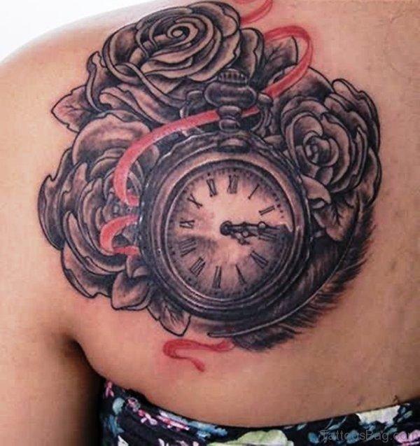 Sweet Black Clock Tattoo Design