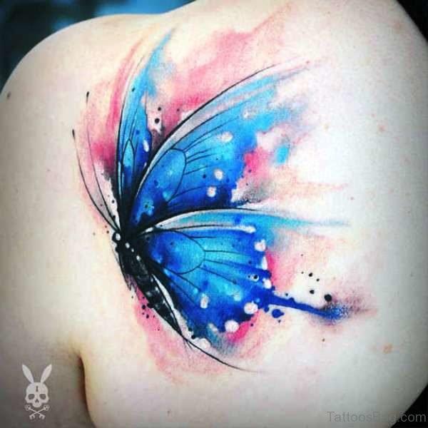 Sweet Blue Butterfly Tattoo On Shoulder