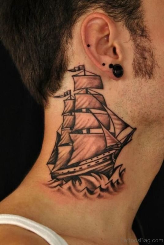 Sweet Brown Ship Neck Tattoo