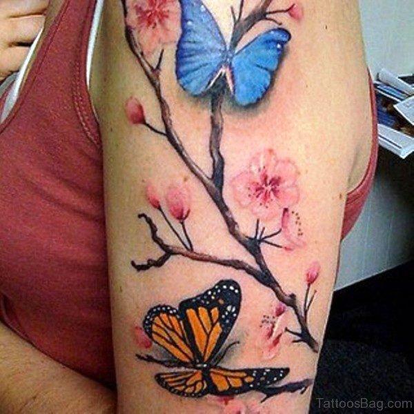 Sweet Butterfly Tattoo On Left Shoulder