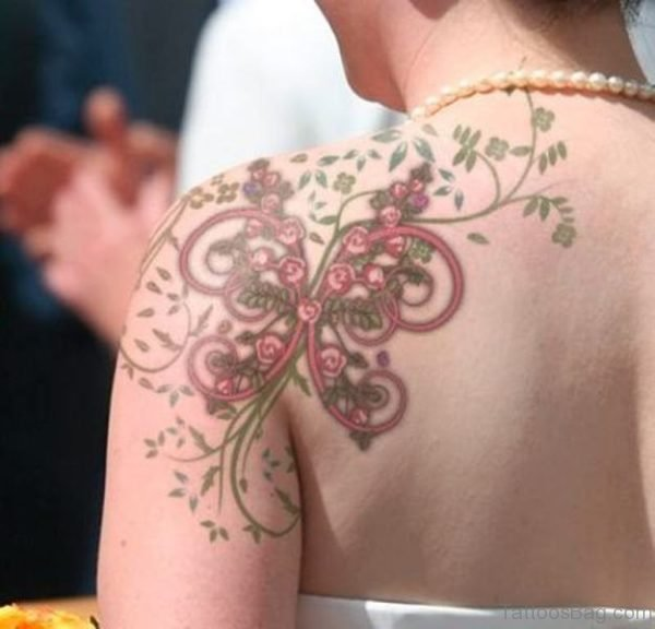 Sweet Butterfly Vine Tattoo On Neck