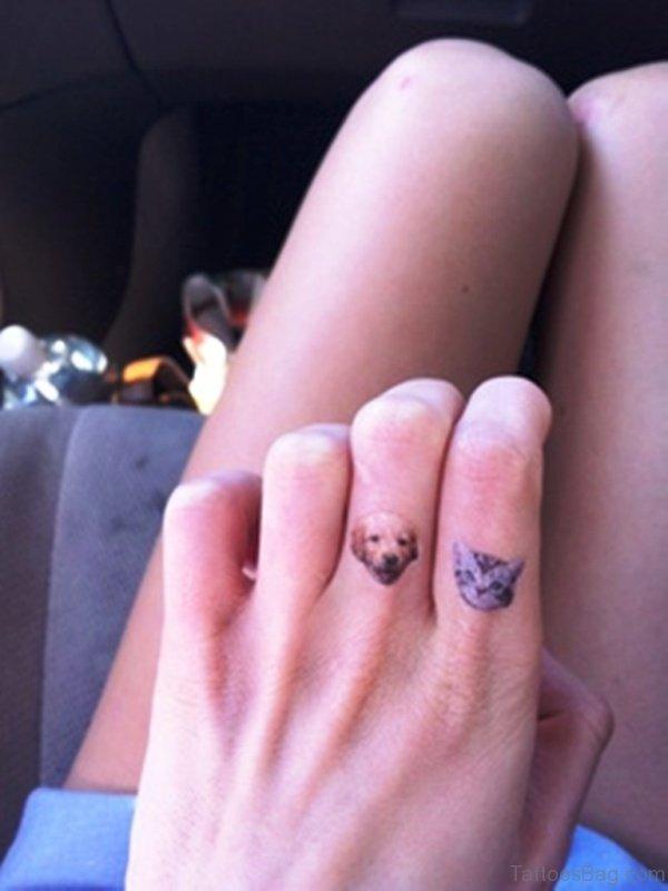 Sweet Cat And Dog Tattoo