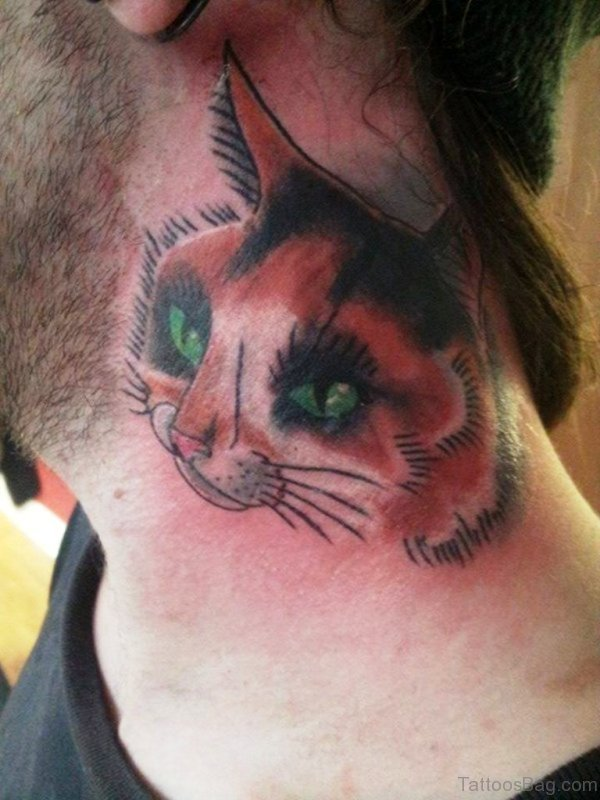 Sweet Cat Face Tattoo On Neck