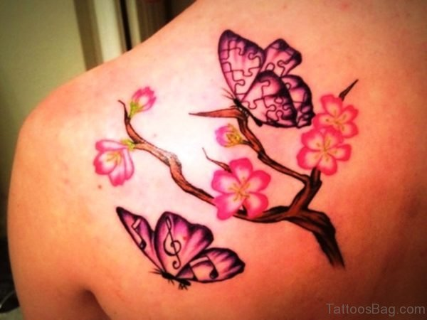 Sweet Cherry Blossom Flower And Butterfly Tattoo