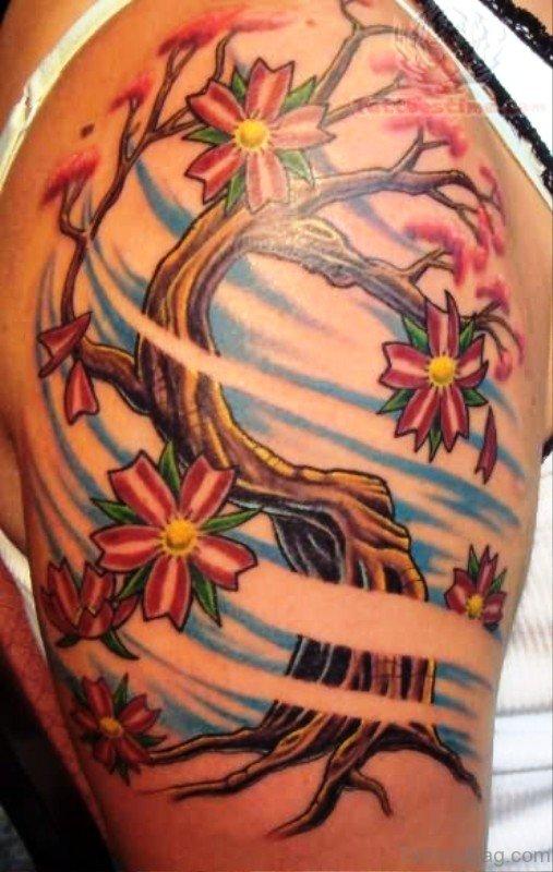 Cherry Blossom Tree Tattoo On Wrist: 55 Superb Cherry Blossom Tattoos On Shoulder