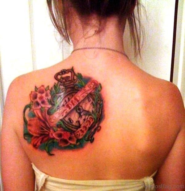 Sweet Clock Back Shoulder Tattoo