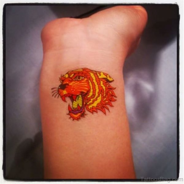 Sweet Colorful Tiger Tattoo On Wrist