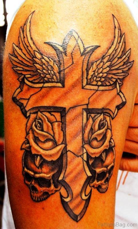 Sweet Cross Shoulder Tattoo Design