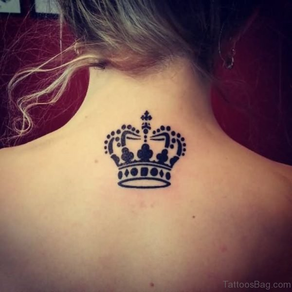 Sweet Crown Neck Back Tattoo