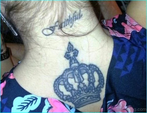 Sweet Crown Tattoo On Neck Back