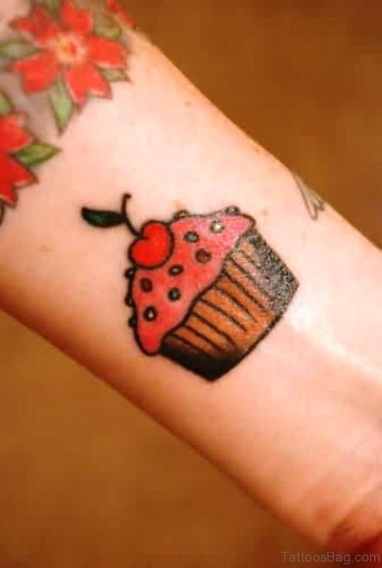 Sweet Cupcake Tattoo On Wrist