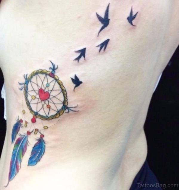 Sweet Dreamcatcher Tattoo On Rib