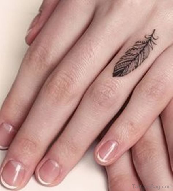 Sweet Feather Tattoo On Finger