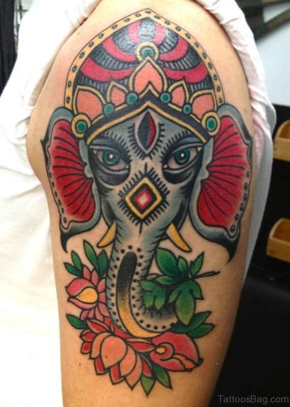 Sweet Ganesha Tattoo For Shoulder