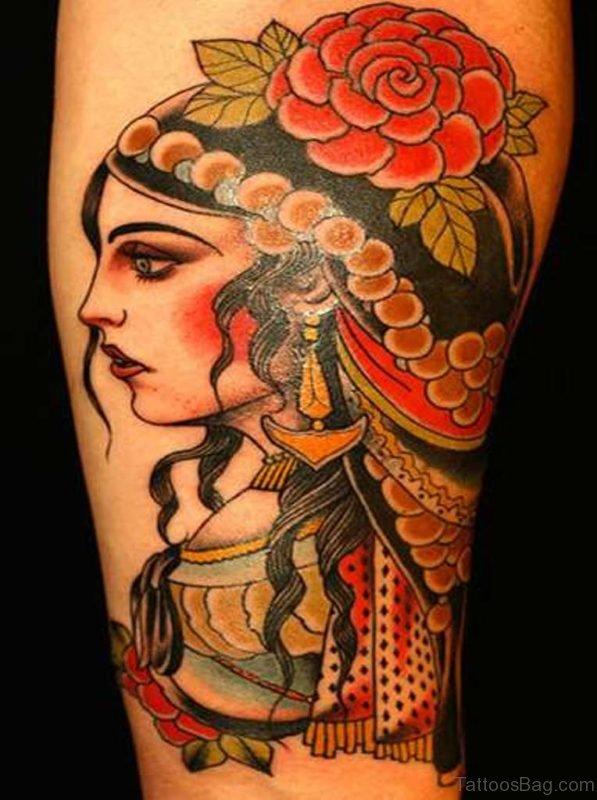 Sweet Girl Portrait Tattoo Design