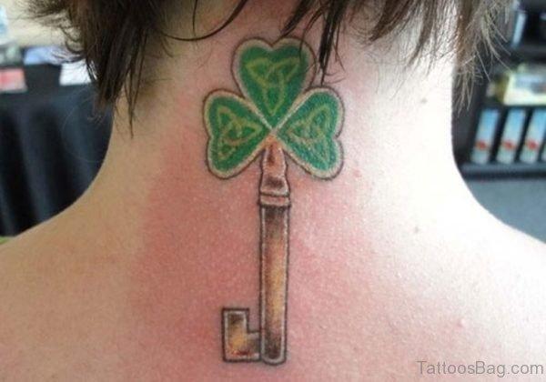 Sweet Green Key Tattoo On neck