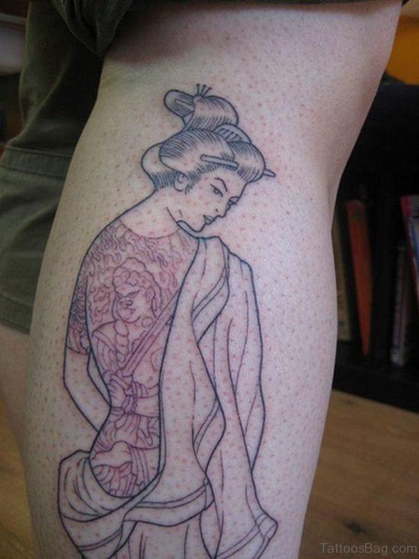 Sweet Lady Tattoo On Leg