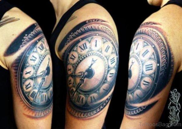 Sweet Large Clock Tattoo Design
