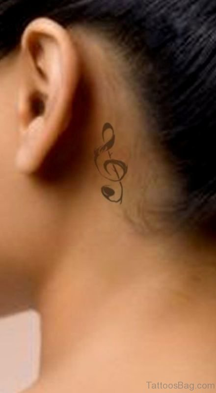 Sweet Music Note Tattoo On Neck