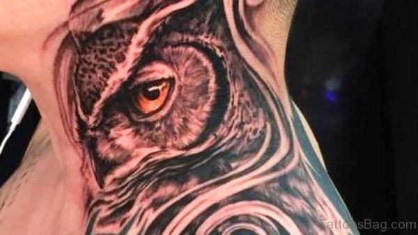 Sweet Owl Neck Tattoo
