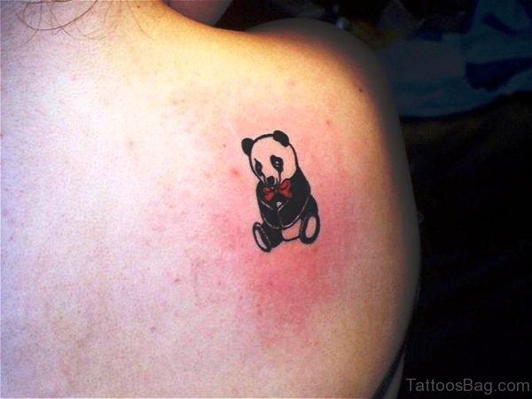Sweet Panda Sitting Tattoo On Shoulder
