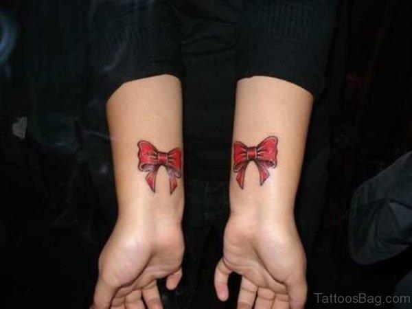 Sweet Red Ribbon Wrist Tattoo